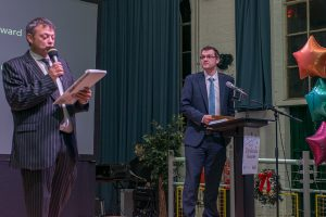 Paul Shuttelworth and Rich Bishop (fsb) on stage at 2019 Dyslexia Awards