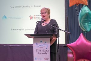CRY for Matthew's Sue Dewhirst at the 2019 Dyslexia Awards